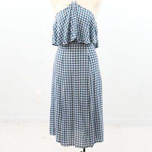 ASOS S Gingham Plaid Print Midi Halter Dress Blue